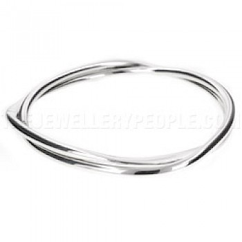 2 Piece Solid Twisted Silver Bangle