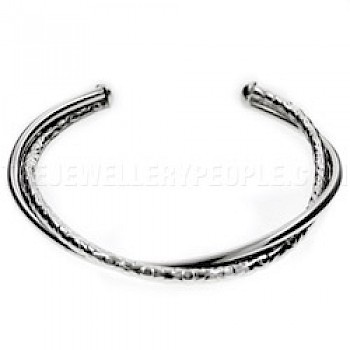 2 Strand Twisted Half Textured Open Silver Bangle