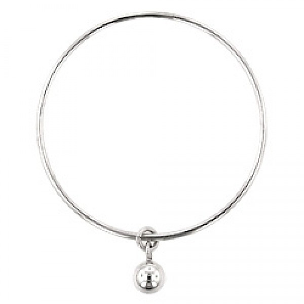 2mm Solid Silver Round Bangle with Ball Charm