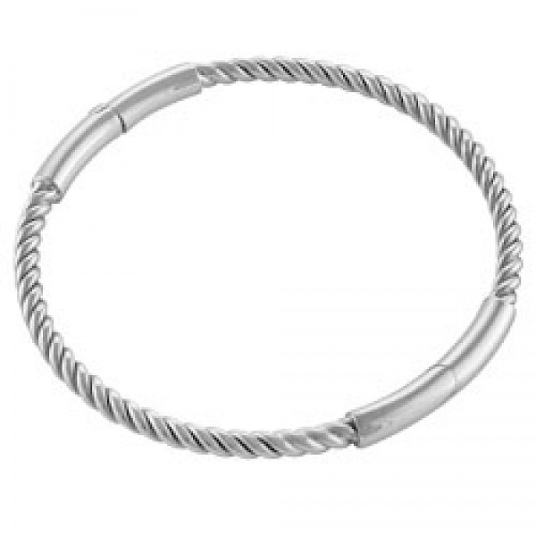 4mm Solid Silver Rope Bangle - Petite