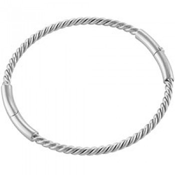 3.5mm Solid Silver Rope Bangle - Large