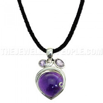 Amethyst Droplets & Silver Pendant