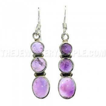 3 Cabochons Amethyst & Silver Earrings