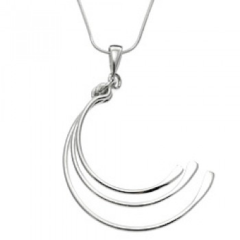 3 Crescents Fan Silver Pendant