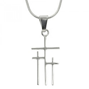 3 Crosses Silver Pendant