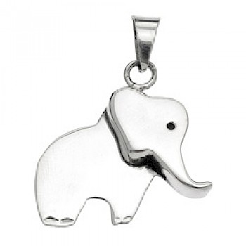 3-D Silver Elephant Pendant - 30mm Wide