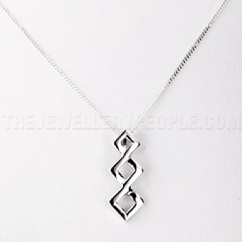 3 Diamond Silver Pendant