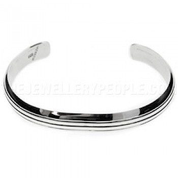 3 Grooves Open Silver Bangle - 9mm Wide