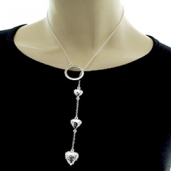 Hammered Hearts Silver Lariat Necklace