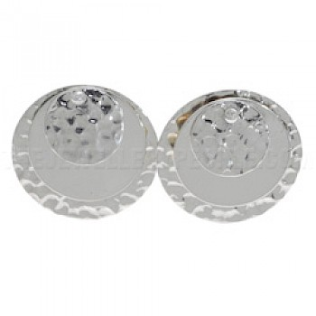 3 Piece Disc Silver Earrings - 24mm Wide