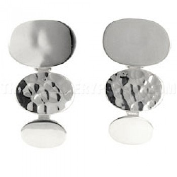 3 Piece Oval Silver Earrings - 30mm Long