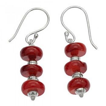 3 Piece Dyed Red Coral & Silver Drop Earrings