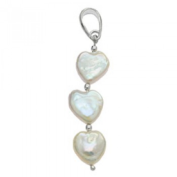3 Piece Silver Heart Pearlised Shell Pendant