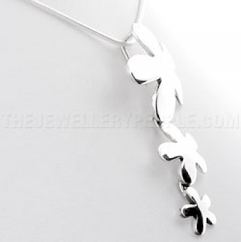3 Piece Simple Flowers Silver Pendant