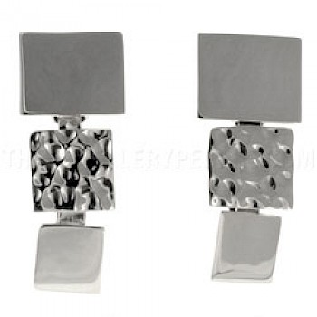 3 Piece Square Silver Earrings - 30mm Long