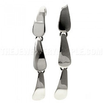 3 Piece Teardrop Silver Earrings - 70mm Long