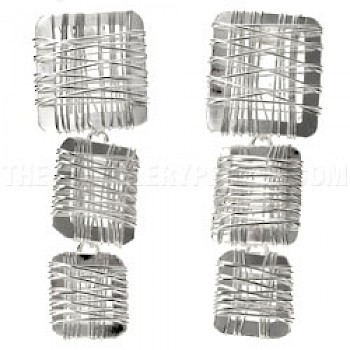 3 Piece Wrapped Squares Silver Earrings - 55mm Long
