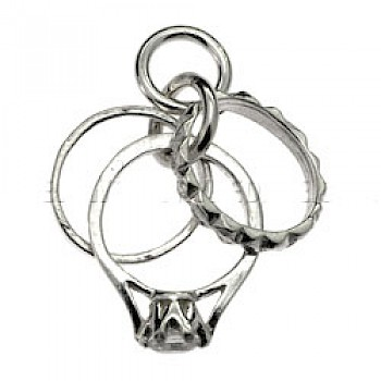 3 Jewelled Rings Silver Charm
