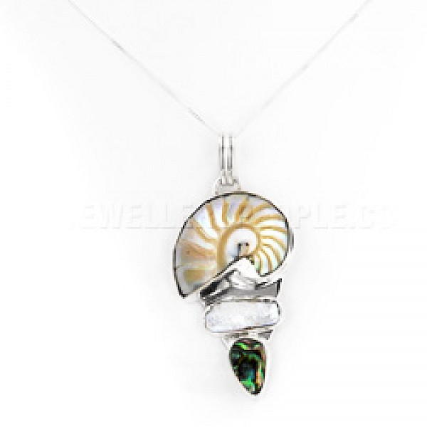 3 Shell & Silver Pendant - Green