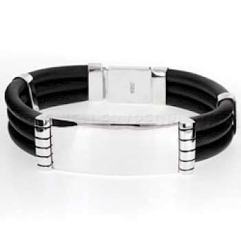 3 Strand Rubber & Silver ID Bracelet -  18mm Wide