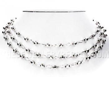"3-Strand 6mm Silver Beads Necklace - 18"" long"