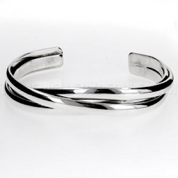 3 Strand Twist Open Silver Bangle - 11mm Wide - Large