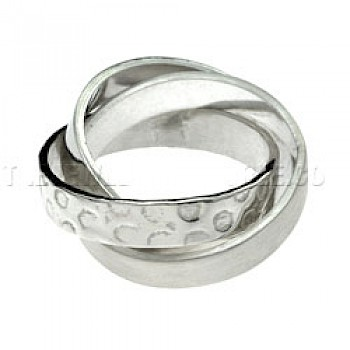 Wire Brushed & Polished Entwined Silver Ring