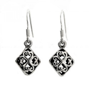 3D Filigree Diamond Silver Earrings