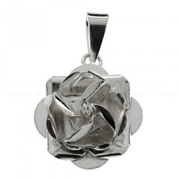 Rose Polished Silver Pendant