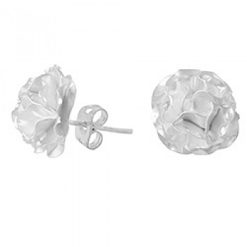 3D Silver Flower Stud Earrings - 10mm Wide