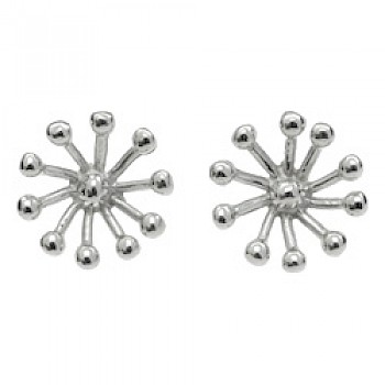 3D Snowflake Silver Stud Earrings - 15mm Wide