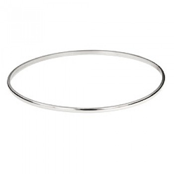 3mm Silver Polished Flat-topped Bangle - 55mm
