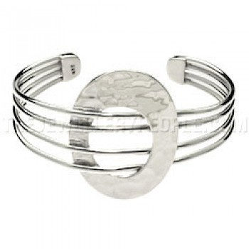 4 Strand Hammered Oval Silver Bangle