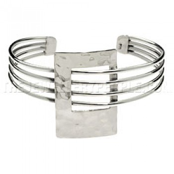 4 Strand Hammered Rectangle Silver Bangle