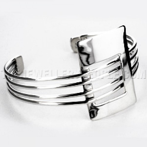 4 Strand Rectangle Silver Bangle
