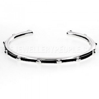 Cut Out Oxidised Bauble Open Silver Bangle - 5mm