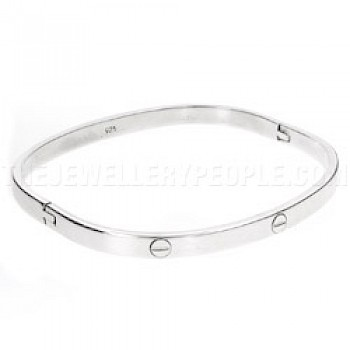 Oval Silver Screw Bangle - 4mm Wide