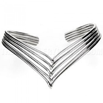 5 Piece Open Wishbone Twist Silver Bangle - 25mm Deep