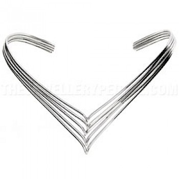 5 Piece Wishbone Heavy Twist Silver Collar