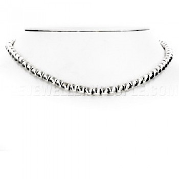 "Silver Bead Necklace - 5mm - 16"" long"