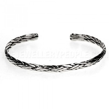 Oxidised Celtic Weave Flexible Silver Bangle - 5mm wide
