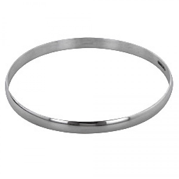 5mm Polished Curved Edged Silver Bangle - 5mm Solid