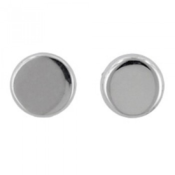 Polished Silver Round Stud Earrings - 5mm