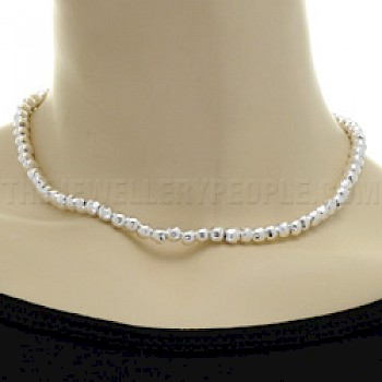 "Silver Bead Necklace - 6mm wide - 16"" long"