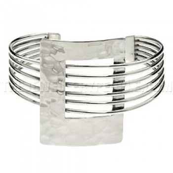 6 Strand Hammered Rectangle Silver Bangle