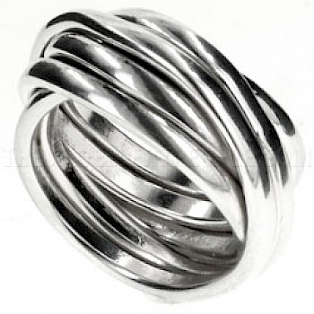 6 Piece Multi Wrapped Silver Ring