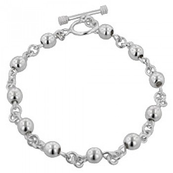 6mm Bead Chain Silver Bracelet