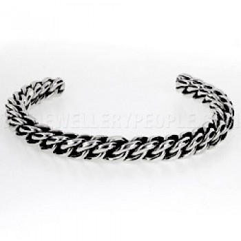 Barrel Multi Wire Open Silver Bangle - 5mm Wide - Extra Large Size