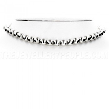 "Silver Bead Necklace - 8mm wide - 16"" long"