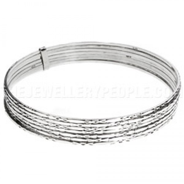 7 Piece Diamond Detail Stacked Silver Bangle - 70mm Internal diameter